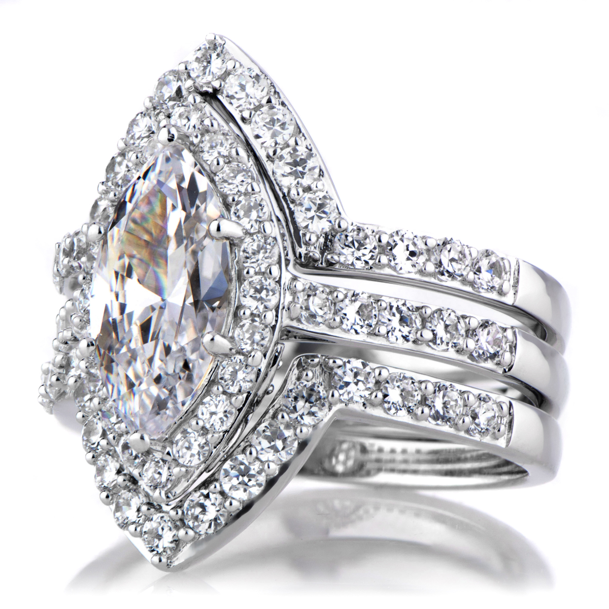 marquise cut cz engagement ring and guard set