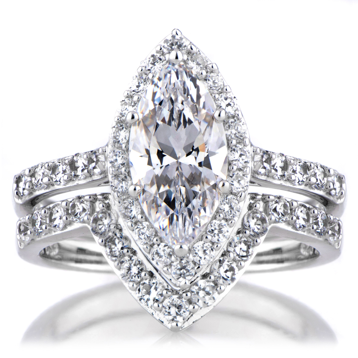 padgetts marquise cut cz engagement ring and guard set - Cz Wedding Rings