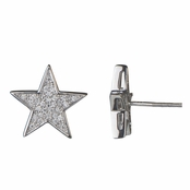Pamee's 14mm Pave CZ Star Stud Earrings with Screw On Backing