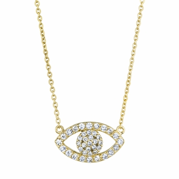 Pamela's 18in Goldtone Pave CZ Evil Eye Necklace