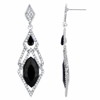 Pamella's Black Red Carpet Style Drop Earrings