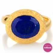 Parina's Oval Cut Blue Stone Goldtone Cocktail Ring