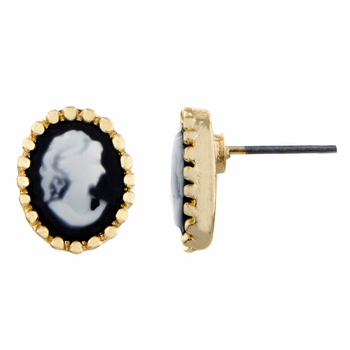 Patricia's Goldtone and Black Cameo Stud Earrings