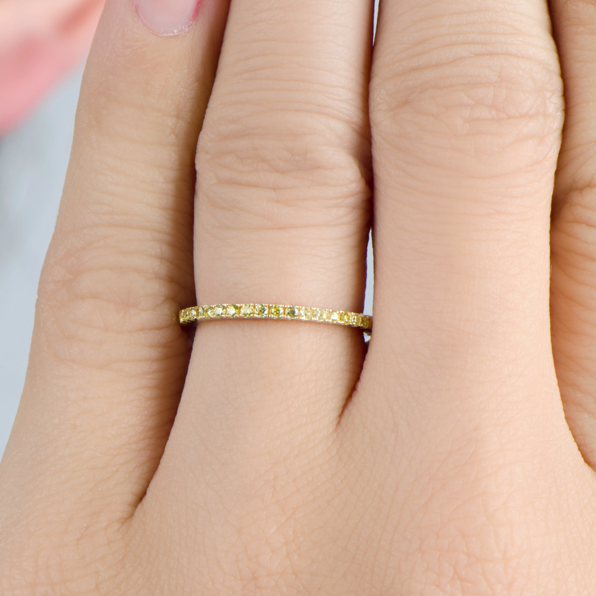 Two Tone and Canary CZ Ring Band