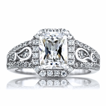 Pavi's 1.74ct Art Deco Style Emerald Cut CZ Engagement Ring