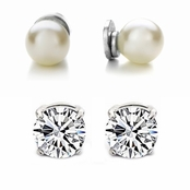 8mm Imitation Pearl and 6mm CZ Magnetic Stud Earring Set