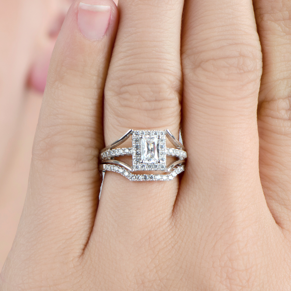 peppins halo emerald cut cz wedding ring set - Halo Wedding Ring Set