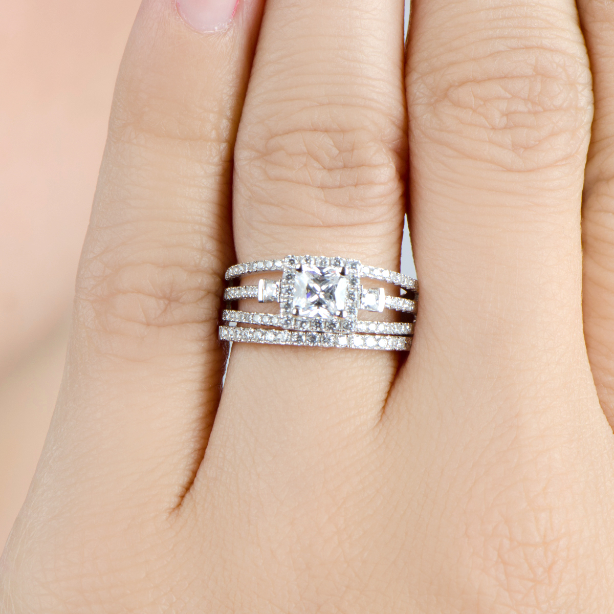 triple row princess cut halo cz wedding ring set