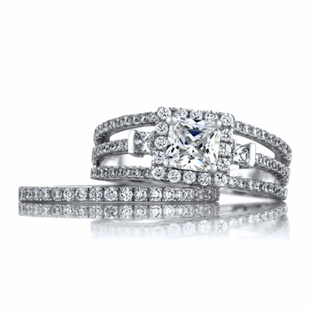 Perla's Triple Row Princess Cut Halo CZ Wedding Ring Set