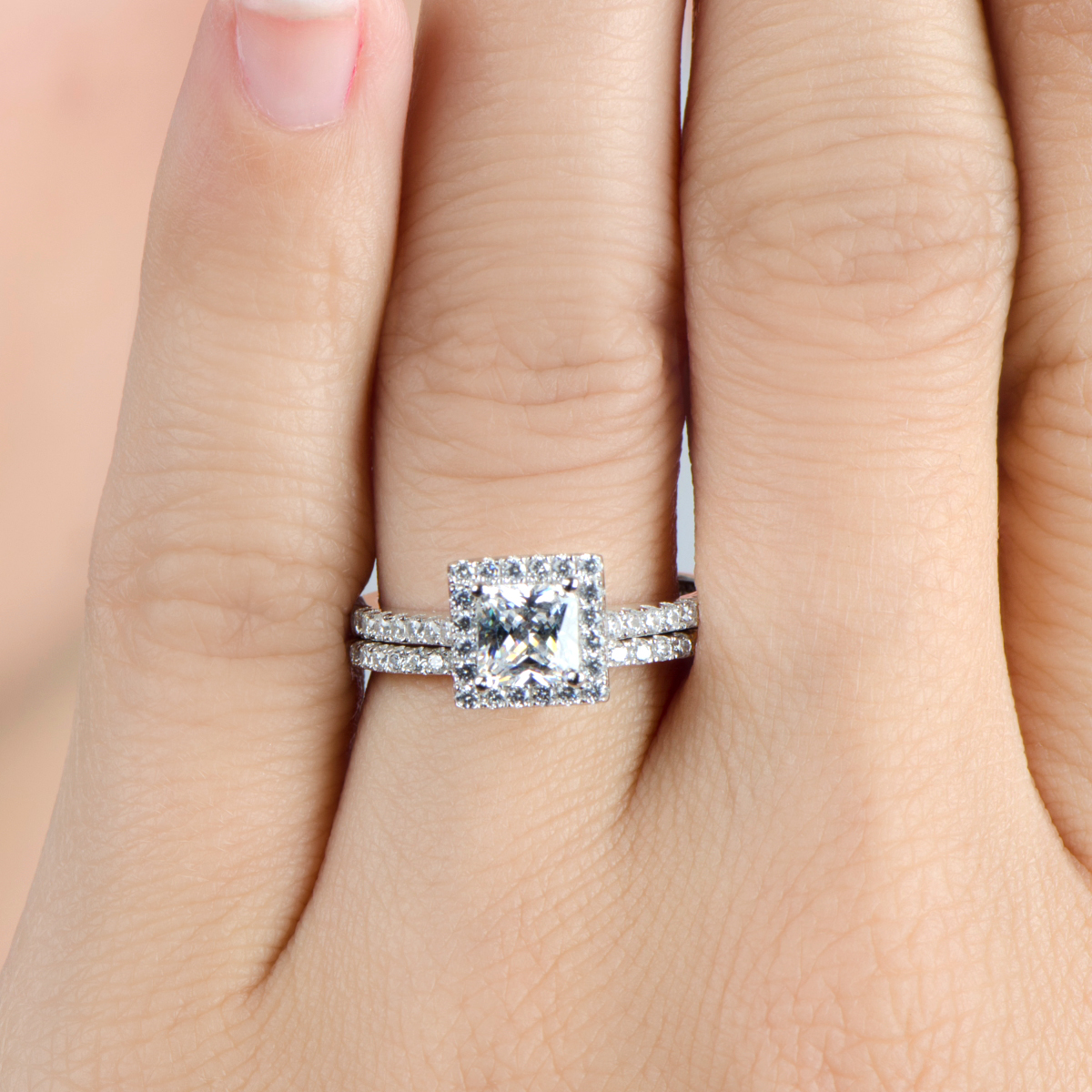 Perrie's 124ct Princess Cut Halo Cz Wedding Ring Set