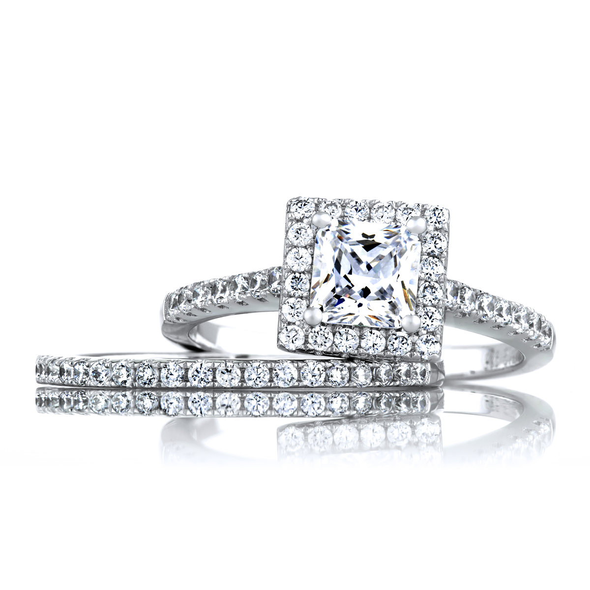 halo cz wedding ring set roll off image to close zoom window - Halo Wedding Ring Set