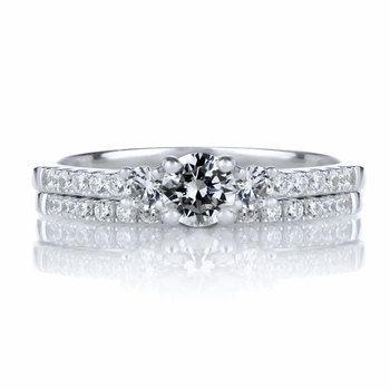 Lalita's Petite Three Stone Silvertone CZ Wedding Ring Set