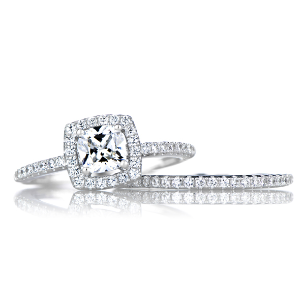 phillipas cushion cut cz wedding ring set with halo roll off image to close zoom window - Cz Wedding Ring Sets