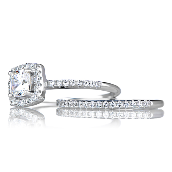 phillipas cushion cut cz wedding ring set with halo - Halo Wedding Ring Set