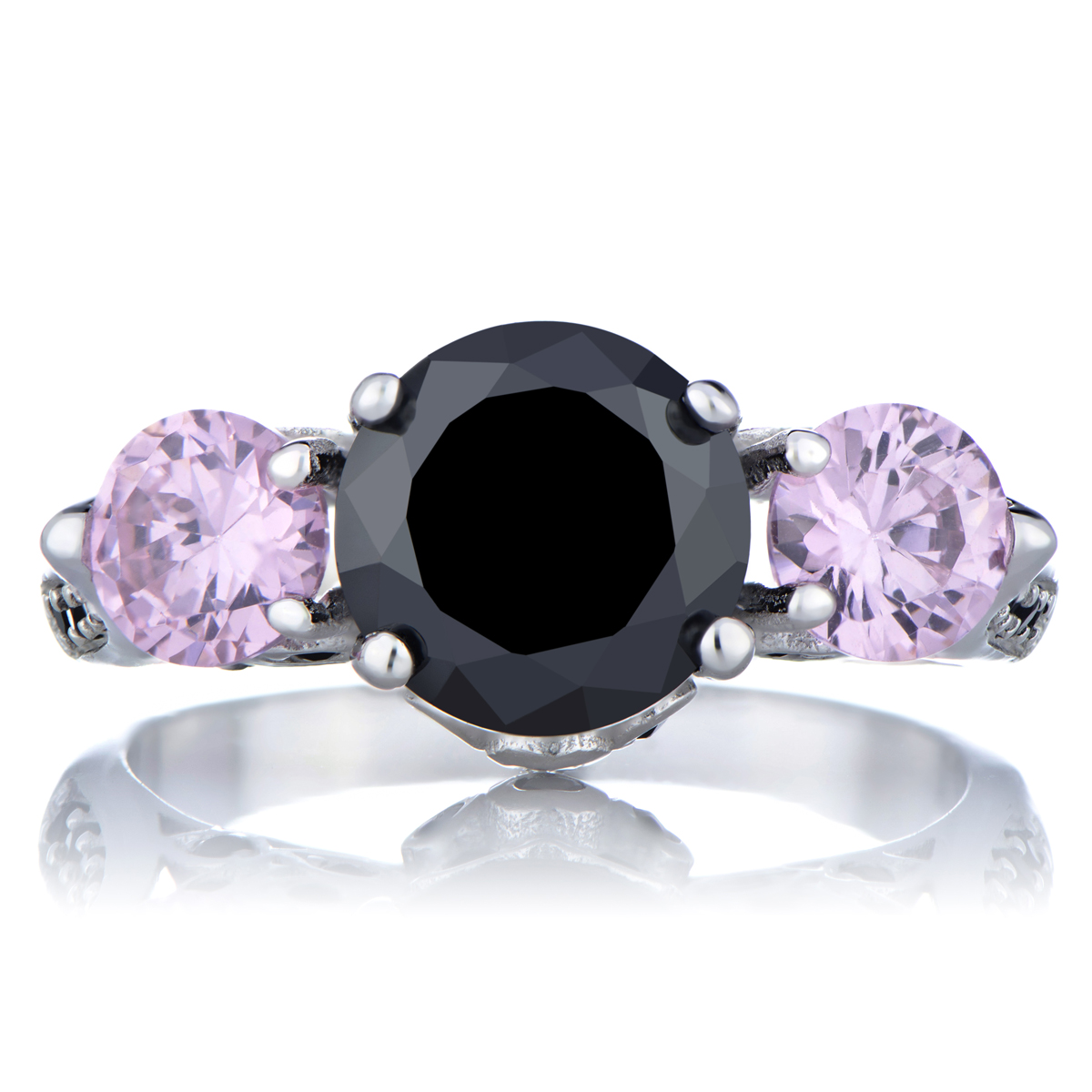 Piper's Pink And Black Cz Engagement Ring Roll Off Image To Close Zoom  Window