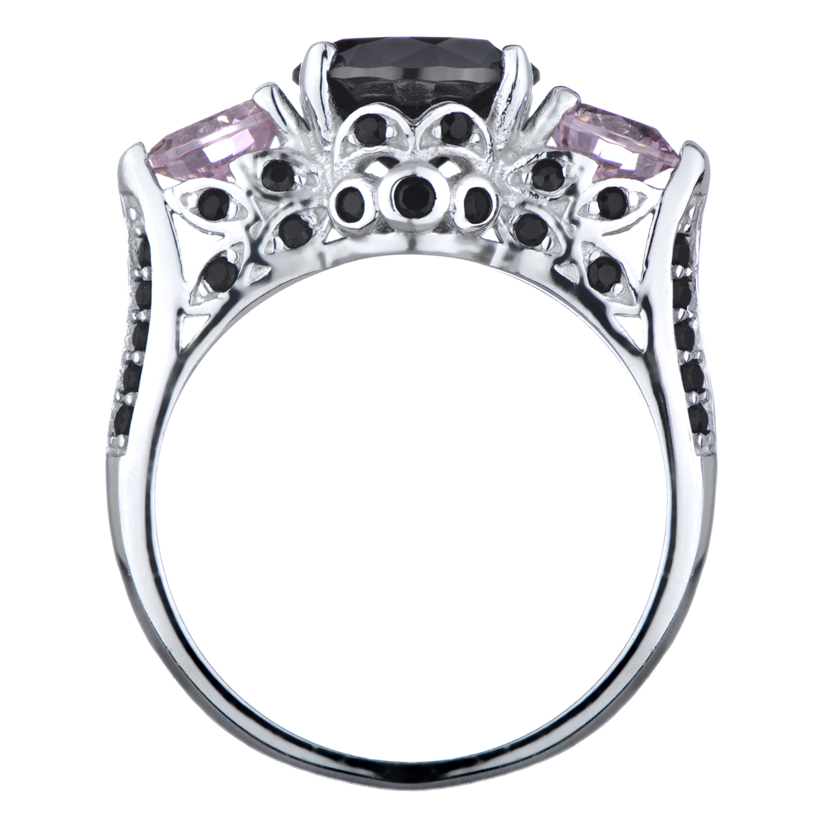 Piper's Pink And Black Cz Engagement Ring
