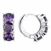 Polly's Purple CZ Petite Hoop Earrings