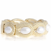 Poppy's Goldtone and Imitation Pearl Magnetic Cuff Bracelet