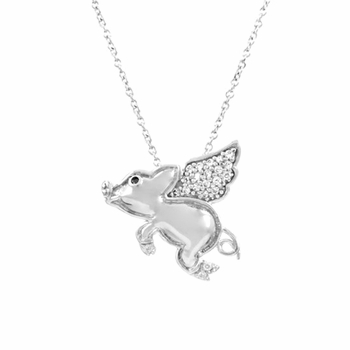 Porcius' Flying Pig CZ Necklace
