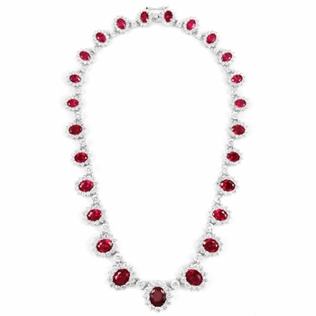 Pretty Woman Comparable Fancy Red CZ Necklace - Silvertone