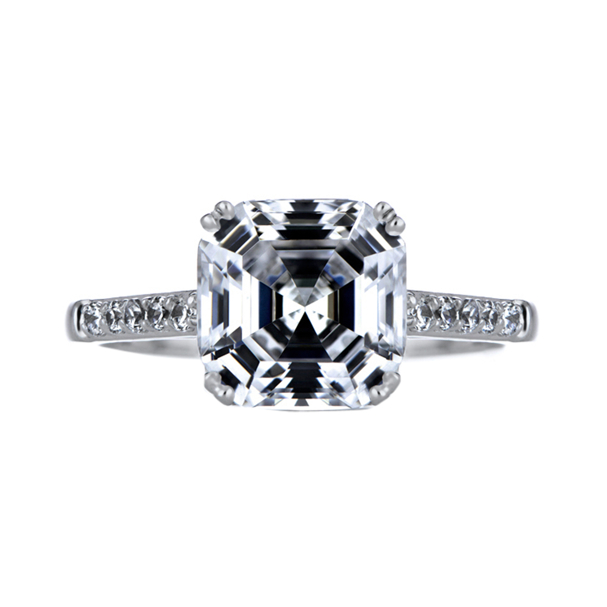 Asscher Cut Cz Engagement Ring Roll Off Image To Close Zoom Window