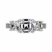 Silvertone Asscher Cut CZ Engagement Ring
