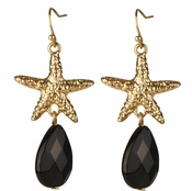 Rachel's StarFish Black Pear Drop Dangle Earrings