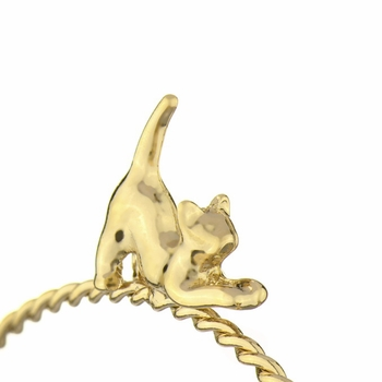 Rae's Goldtone Twisted Stackable Charm Bangle Bracelet - Cat