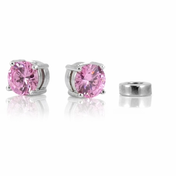 Raina's Non Pierced Magnetic Earrings - Pink CZ