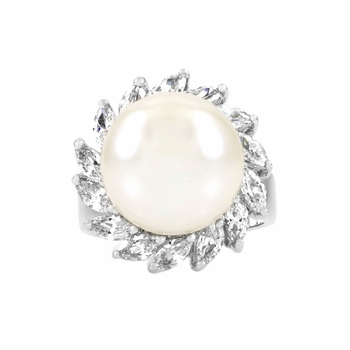 Reijo's Imitation Pearl and CZ Cocktail Ring