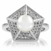 Reika's CZ & Imitation Pearl Pentagon Cocktail Ring