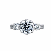 Renalde's 3 Stone Flower Set CZ Engagement Ring
