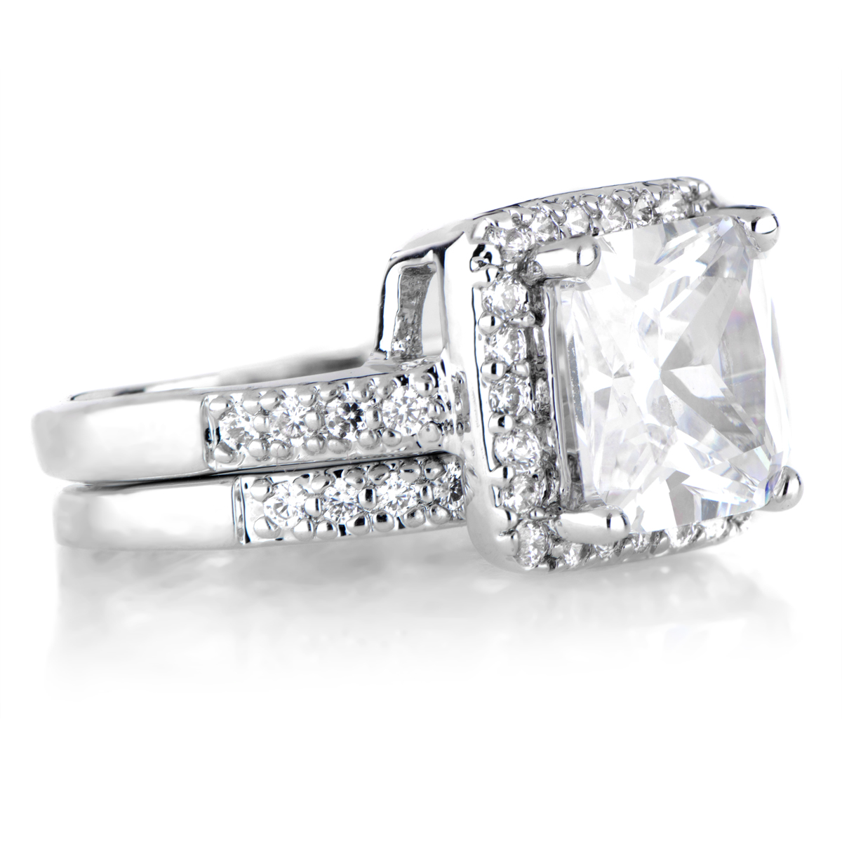 Cubic Zirconia Halo Princess Cut Wedding Ring Set