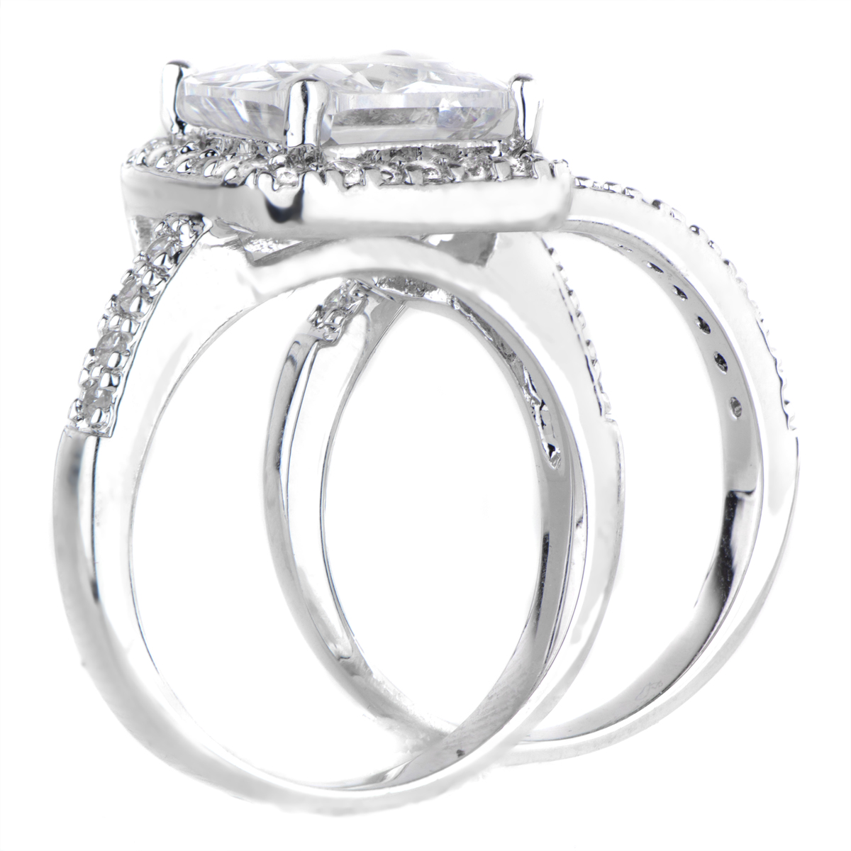 rians cubic zirconia halo princess cut wedding ring set - Halo Wedding Ring Set