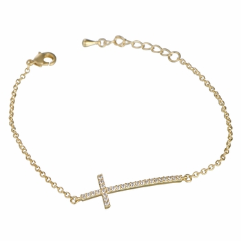 Petite Goldtone Pave Sideways Cross Bracelet