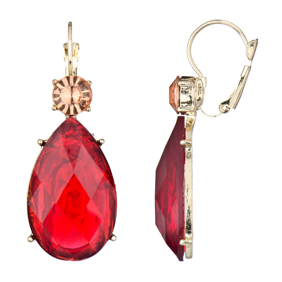 Rina's Fancy Pear Drop Earrings  Red Stone