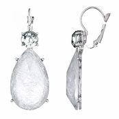 Rina's Fancy Pear Drop Earrings - Silvertone