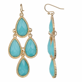 Robin's Turquoise Pear Drop Chandelier Earrings