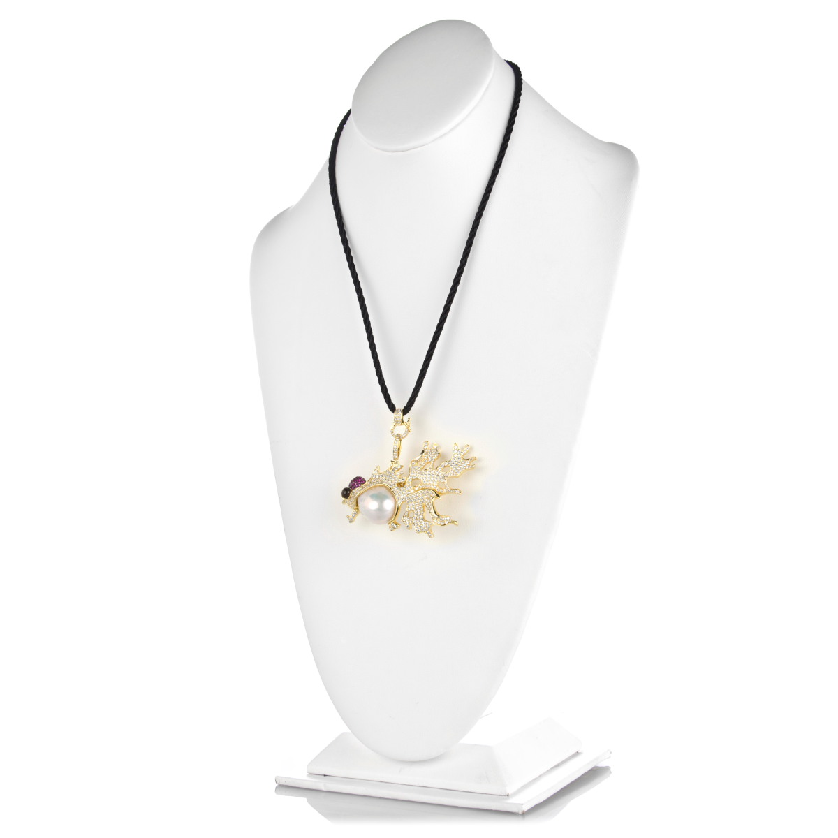 Rochana's Fish Necklace And Brooch Goldtone With Cultured Baroque Pearl