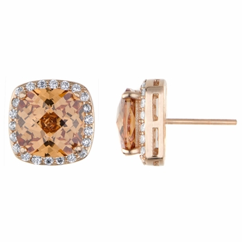 Rocio's Rose Goldtone and Peach CZ Cushion Cut Stud Earrings