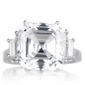 Roja's 9 ct Asscher Cut 3 Stone Engagement Ring