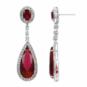 Rori's Pear Drop Red CZ Dangle Earrings