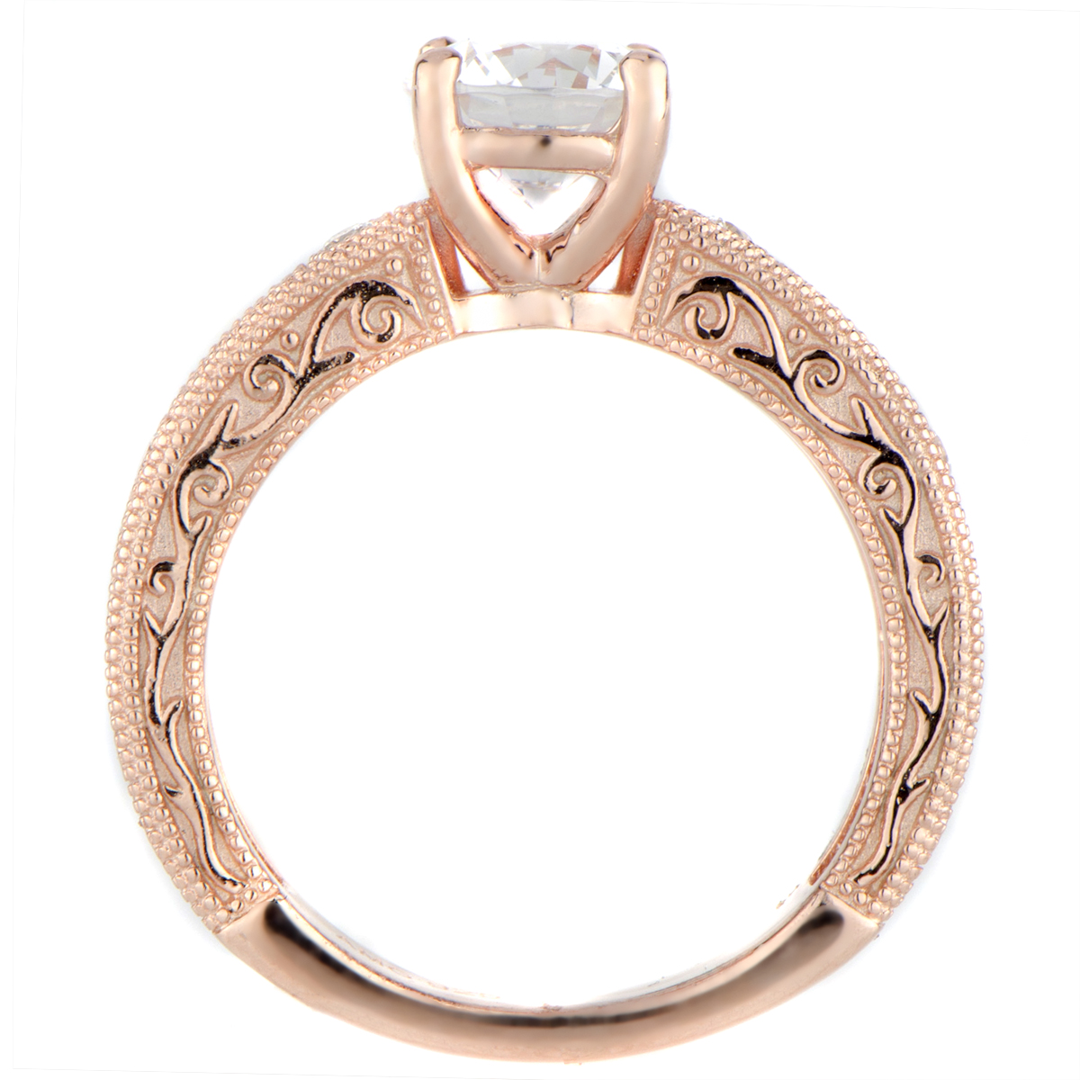 Maya's Round Cut Antique Style Rose Goldtone Engagement Ring