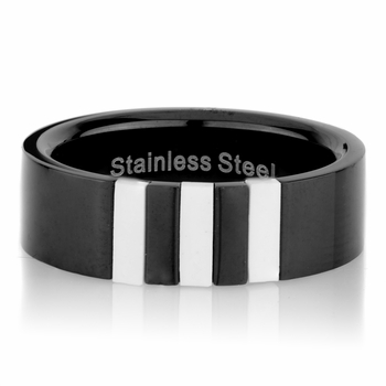 Ryan's Black Stainless Steel Ring with Imitation Shell Inlay