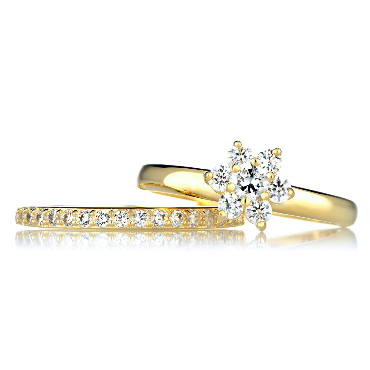 gold cz flower wedding ring set