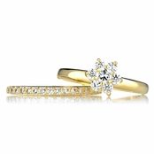 Sage's Goldtone CZ Flower Wedding Ring Set