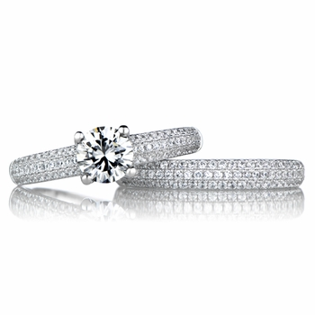 Salma's Round Cut Cubic Zirconia Wedding Ring Set