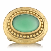 Salome's Goldtone Victorian Style Right Hand Ring - Green Stone