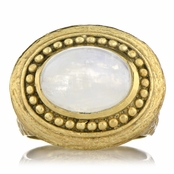 Salome's Goldtone Victorian Style Right Hand Ring - Imitation Moonstone