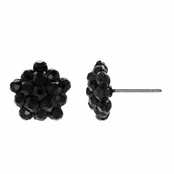 Samara's Rhinestone Cluster Stud Earrings - Black